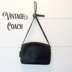 Vintage Authentic Coach Anderson Zip Crossbody Black leather vintage Coach handbag. Exterior has 1 slip pocket on the outside. Coach creed stamped inside and 1 spacious zipper pocket and brass zipper closure on top. Interior has the classic unfinished leather. All the leather and piping show very little wear. Clean inside and out. Please keep in mind that this bag is 20+ yrs. old, not new, and may show signs of use and age. Coach tag and creed don't have a lot of relief.  Strap is adjustable…