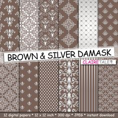 Damask digital paper BROWN & SILVER DAMASK with by ClaireTALE