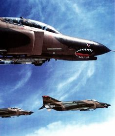 lahoriblefollia:  F-4 Phantoms wolf pack providing battlefield air superiorirty over the Korean DMZ.jpg