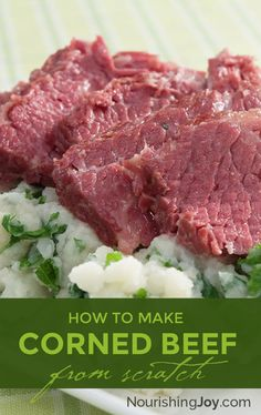 Traditional homemade corned beef doesn't take long to make, but it's delicious and packed with lactic acid bacteria, those helpful little bacteria that aid digestion and nutrient absorption. Reuben sandwich, anyone? Homemade Corned Beef, Cooking Corned Beef, Corned Beef Brisket, Corned Beef Recipes, Meat Recipes, Slow Cooker Recipes, Real Food Recipes, Cooking Recipes, Corned Beef Brine Recipe