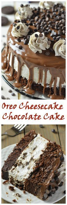 Oreo Cheesecake Chocolate Cake, so decadent chocolate cake recipe. Oreo cheesecake sandwiched between two layers of soft, rich and fudgy chocolate cake. Cheesecake Recipes, Oreo Cheesecake, Dessert Recipes, Oreo Cake, Chocolate Cheesecake, Egg Cake, Sweet Treats, Yummy Treats, Yummy Food