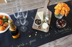 Jaq Jaq Bird Chalk Board Table Runner used at a cocktail party