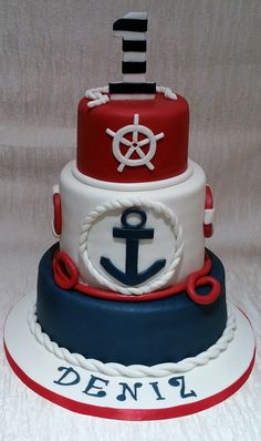 Nautical themed 1st birthday cake by Baking Angel
