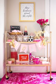 Valentine's Day Bar Cart Decor