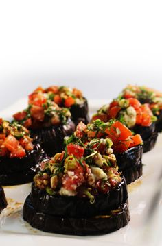 Perfect with any Christmas meal! Try our Eggplant Bruschetta with Tomato, Mint & Fetta! #Woolworths #Christmas #Xmas #Eggplant #Bruschetta #Fetta #Christmaslunch #Christmasdinner #Entrée
