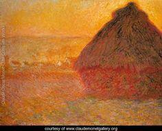 Haystack at Sunset near Giverny - Claude Oscar Monet