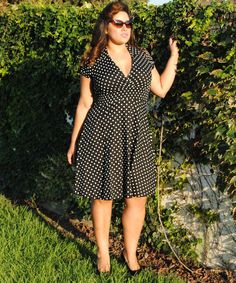 Womens,Vintage Look ,Plus Size Dress Black Polka Dot Rockabilly,Pin Up,Retro style