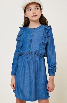 BOOHOO GIRLS DENIM LONG SLEEVE SHIRT DRESS WITH RUFFLE AGE 9-10 YEARS NEW
