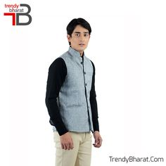 Sparkle the traditional look with this Grey Nehru Jacket this season. #Retro #Betrendy