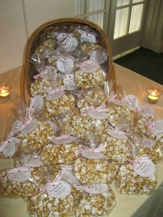 "Carmel popcorn with a tag ""he popped the question!"""