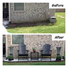 Flowerbed makeover.  Created a backyard seating area using a flowerbed that stayed muddy instead of growing anything by filling with landscaping stones, adirondack chairs, table and some accessories.