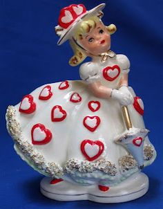 Vintage valentines decoration figurine - Hearts Girl