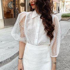 Damen Spitze T-Shirt Chiffon Netz Durchsichtig Lolita Bluse Top Rüschen