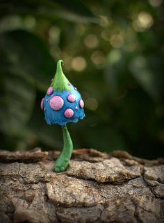 Blue pink green fairy garden fantasy mushroom  ,polymer clay toadstool Home decor,Fairy Garden