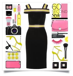 """""""60 Second Style: Off-Shoulder Dress"""" by marina-volaric ❤ liked on Polyvore featuring Christopher Kane, Marc Jacobs, Sophia Webster, Givenchy, Gucci, Clinique, Knomo, Maybelline, Olympus and Fendi"""