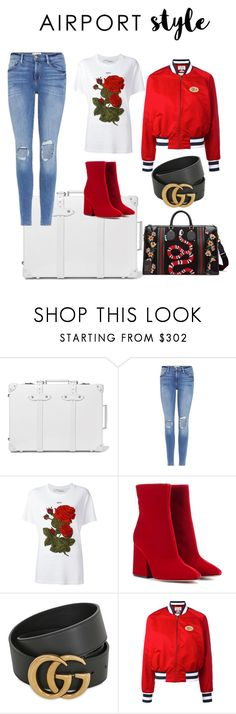 """""""Airport Style"""" by queenariadna ❤ liked on Polyvore featuring Globe-Trotter, Frame, Off-White, Maison Margiela, Gucci, Tommy Hilfiger and airportstyle"""