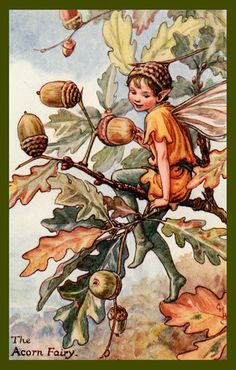 The Acron Fairy by Cicely Mary Barker from the 1920s. Quilt Block of vintage fairy image printed on cotton. Ready to sew.  Single 4x6 block $4.95. Set of 4 blocks with pattern $17.95.