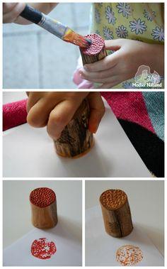 DIY wooden texture stamps for kids - Mother Natured Art For Kids, Crafts For Kids, Ceramic Lantern, Workshop, Preschool Projects, Autumn Activities, Nature Crafts, Mother And Child, Wooden Diy