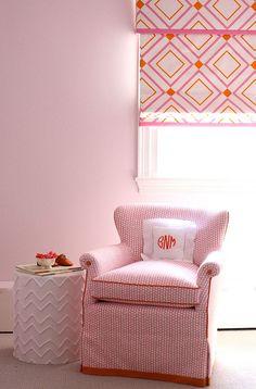 cynthia brooks design.  upholstery details, pink & orange, monogrammed pillow, pattern.