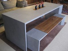 concrete + wood dining table