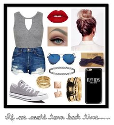 """If we could turn back time...."" by elliethemunchkin on Polyvore featuring Miss Selfridge, Topshop, Lime Crime, Converse, Casetify, Victoria Beckham, Forever 21 and ABS by Allen Schwartz"