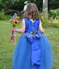 Pegeen Couture Malibu Blue Tulle Flower Girl Dresses Style 402