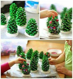 Pine cones, paint, glitter, Plaster of Paris, Tacky glue, cut up old necklaces, and Voila! A forest of Christmas trees!