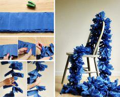 DIY - Guirlanda com papel crepon