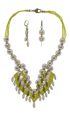 Jewelry Design - Bib-Style Necklace and Earring Set with Macrame C-Lon Nylon Thread, Antiqued Gold-Plated Brass Bead Caps and Antique Brass-Plated Brass Charms - Fire Mountain Gems and Beads