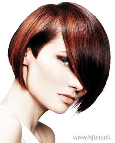 Short bob hairstyle with different shades