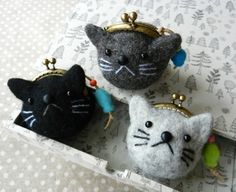 ネコがま3個 teeny weeny mini cat purses super cute kawaii key charm fashion accessory…