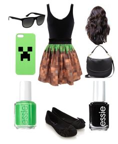"""Minecraft outfit"" by jenna-bo-benna ❤ liked on Polyvore featuring Minecraft, iHeart, Accessorize, Mulberry, Ray-Ban and Essie"