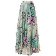 Elegant Floral Chiffon Maxi Skirt (431.045 IDR) ❤ liked on Polyvore featuring skirts, long maxi skirts, summer maxi skirts, green maxi skirt, floral midi skirt and print maxi skirt