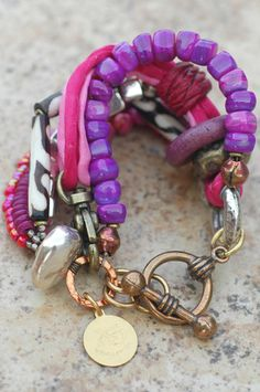 Mixed Media Pink Shell, Silk, Glass and Metal Multi-Strand Bracelet