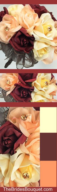 Autumn Rose Bouquet with champagne jewels! Burgundy, Peach, Yellow roses with a chocolate organza ribbon! TheBridesBouquet.com