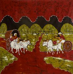 Bullock Carts on Village Path (Batik Painting on Cotton Cloth - Unframed)