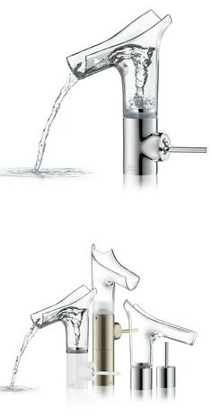 Countertop glass washbasin mixer AXOR STARCK V by HANSGROHE | #design Philippe Starck @Hansgrohe SE