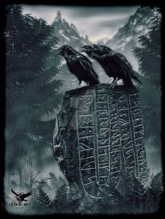 """Huginn and Muninn In Norse mythology, Huginn (meaning """"thought"""") and Muninn (meaning """"memory"""" or """"mind"""") are a pair of ravens that fly all over the world, Midgard, and bring the god Odin information. Viking Life, Viking Art, Viking Warrior, Norse Runes, Norse Pagan, Viking Tattoo Design, Viking Tattoos, Norse Mythology Tattoo, Viking Images"""