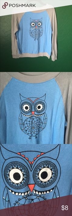 Owl sweater Blue and gray thin sweater with owl. Only washed and worn once, great condition! No Boundaries Sweaters Crew & Scoop Necks