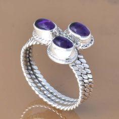AMETHYST 925 SOLID STERLING SILVER EXCLUSIVE RING 5.49g DJR7396 #Handmade #Ring