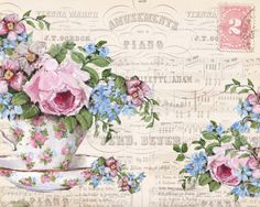 Ready to Frame Print  - Blooms in a tea cup Postcard - Postage is included Worldwide
