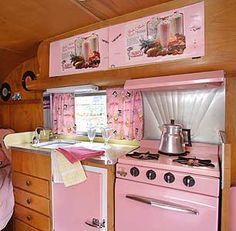 Pink interior, Vintage camper trailer caravan