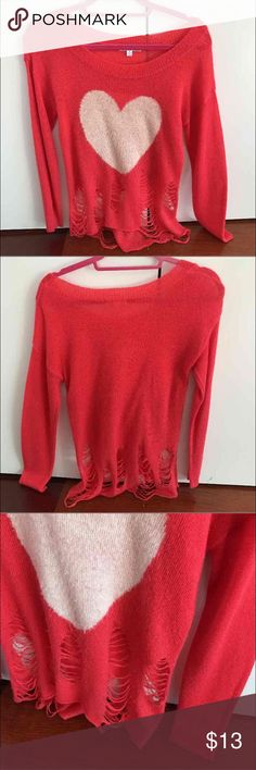 Distressed Heart Sweater In good condition  From a local boutique store Super cute shirt with rips at the bottom and heart Has some fuzz due to washing Size small women's Sweaters Crew & Scoop Necks