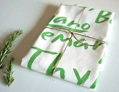 100 organic tea towel  herbs by redcruiser on Etsy, $16.00