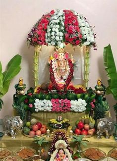 64 trendy flowers decorations for pooja Housewarming Decorations, Diwali Decorations, Festival Decorations, Flower Decorations, Quince Decorations, Room Decorations, Christmas Decorations, Mandir Decoration, Ganpati Decoration At Home