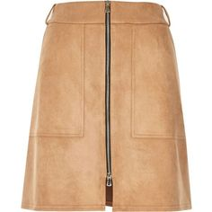 River Island Beige faux suede zip-up a-line skirt ($34) ❤ liked on Polyvore featuring skirts, a line skirt, knee length a line skirt, river island, faux suede a line skirt and beige a line skirt