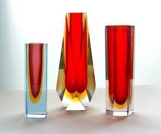 glasswares | Murano faceted vases c.1970s.