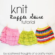 How to make a knit ruffle skirt (using a mans shirt or other knit fabric)