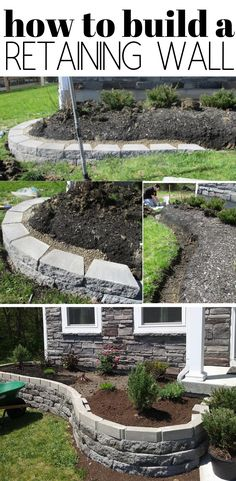 curb appeal landscape How to Build A Retaining Wall Flower Bed. The perfect diy outdoor project idea for spring or summer is to build a retaining wall to raise up your flower bed creating easy maintenance and curb appeal landscape.