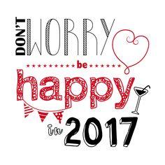 Leuke quote nieuwjaarskaart: Don't worry be happy in 2017. Verkrijgbaar bij #kaartje2go voor €11,95